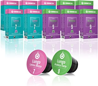 Gourmesso Coffret Lungo - 100 capsules de café compatibles Nespresso ®* - Café équitable
