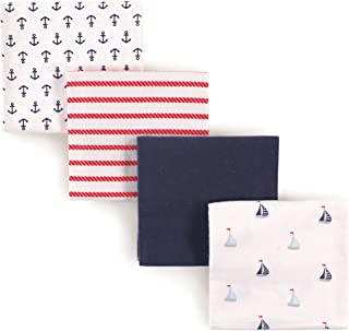 Luvable Friends Unisex Baby Cotton Flannel Receiving Blankets, Sailboat 4-Pack, One Size