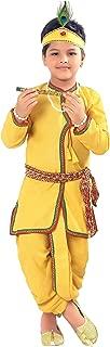 AHHAAAA Kids Ethnic Yellow Cotton Blend Festive Wear Krishna Dress for Baby Boys