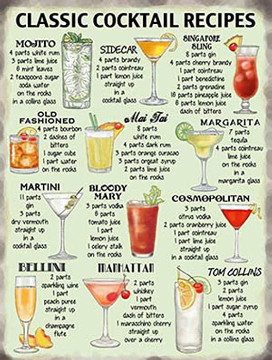 Classic Cocktail Recipes Kitchen Pub Retro Vintage Metal Tin Sign 10647 Pvc Size L Amazon Co Uk Kitchen Home