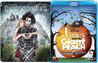 World Beyond Visionary Tim Burton Director 2 Blu Ray Edward Scissorhands Fantasy + James & The Giant Peach film Double Feature Bundle