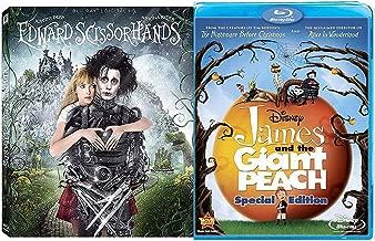 World Beyond Visionary Tim Burton Director 2 Blu Ray Edward Scissorhands Fantasy + James & The Giant Peach film Double Feature Bundle