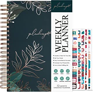 $27 » Sponsored Ad - PLANBERRY Weekly Planner Large – 8x10.4″ Elegant Life & Budget Planner to Hit Your Goals & Live Happier - Organizer & Productivity Journal - Hardcover, Undated + Stickers (Green Pastures)