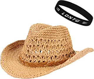 Straw Cowboy Hat Adjustable Classic Sun Straw Hat with Chin Strap Parent-Child Hat UPF50 Sunscreen Hat Wide Brim Sun UV Protection Breathable Visor Foldable Bucket Hat for Adult Child