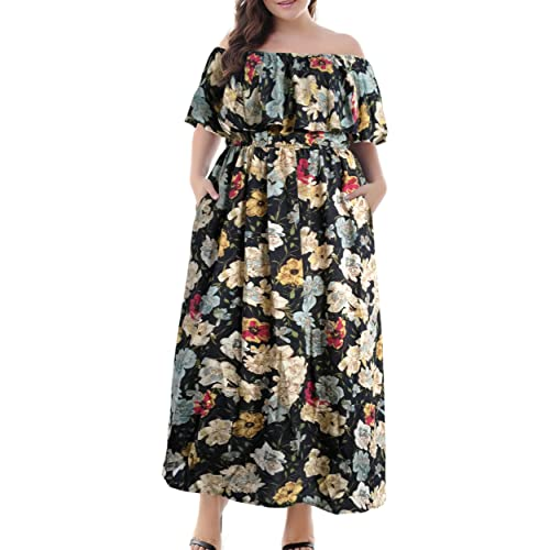 dcfb89b32db Nemidor Women s Vintage Floral Print Off Shoulder Summer Casual Plus Size  Maxi Dress with Pocket