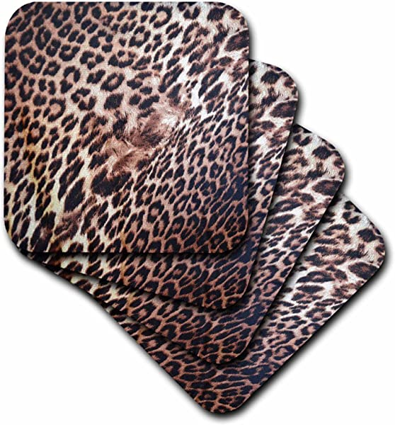3dRose CST 38027 2 Exotic Leopard Animal Print Nature Soft Coasters Set Of 8