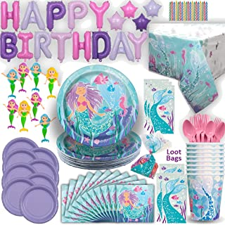Mermaid Party Set 16 Guest - Ultimate under the Sea Birthday - Small and Large Plates, Cups, Napkins, Tablecover, Cutlery, Foil Balloon HAPPY BIRTHDAY Banner, Favor Bags, Mini Bendable Dolls, Candles