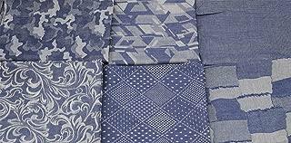Fat Quarter Fabric Bundles Pre-Cut Quilting Cotton Denim Assortments,Good Quality Craft Cloth Bundle Squares,DIY Sewing Crafting Rose Flavor(Geometry 6pcs,18 by 20.5Inch)