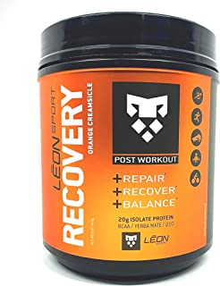 Leon Sport Recovery - Keto Protein Powder Food with BCAA, L Glutamine Plus Yerba Matte - Zero Carbs (Orange Creamsicle)