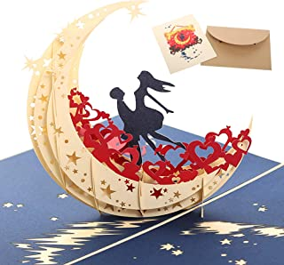 Handmade 3D Pop Up Cards - Fairy Moon Handmade Pop Up Greeting Card for Your Loved Ones, Wedding Anniversary Card for Couple, Valentine Day, Happy Birthday Cards