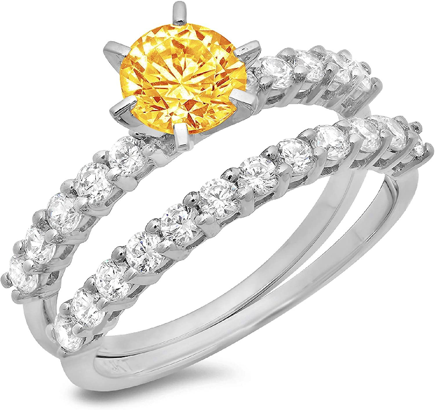 2.94ct Round Cut Pave Solitaire with Accent VVS1 Ideal Natural Yellow Citrine Engagement Promise Designer Anniversary Wedding Bridal Ring band set 14k White Gold