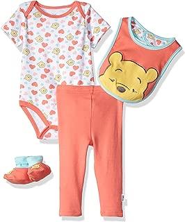 Baby Girls' Winnie The Pooh 3-Piece Bodysuit, Pant, Booties, and Bib