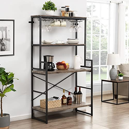 """O&K Furniture Kitchen Baker's Rack with Glass and Cup Holder, 4-Tier Microwave Oven Stand, Large Kitchen Storage Rack, Free Standing Workstation Organizer Shelf - 70""""Height, Gray Finish"""