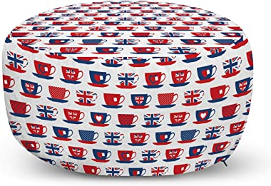 Ambesonne Tea Party Ottoman Pouf, Britain Themed Teacup Forms Patterned Union Jack Hearts Flags, Decorative Soft Foot Rest with Removable Cover Living Room and Bedroom, Vermilion Night Blue