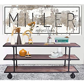 LOKKHAN 3-Tier Industrial Serving Cart with Wheels-Wood and Metal Rolling Utility Cart,Home Kitchen Trolley Wine Cart,Heavy Duty Commercial Bar Cart