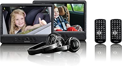 Lenco Tragbarer DVD-Player DVP-1045 Doppel DVD-Player Set – 2 x 9 Zoll Bildschirm..