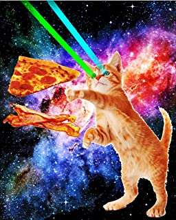 TeeShirtPalace Space Hunger Flying Cat Pizza Bacon Poster