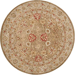 Safavieh Antiquities Collection AT822B Handmade Traditional Oriental Brown and Beige Wool Round Area Rug (10' Diameter)