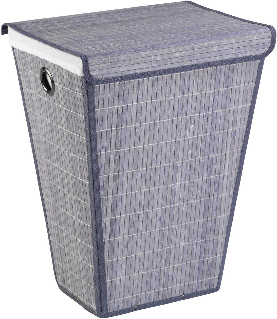 Opening large release sale WENKO Bamboo mart Laundry Bin Grey