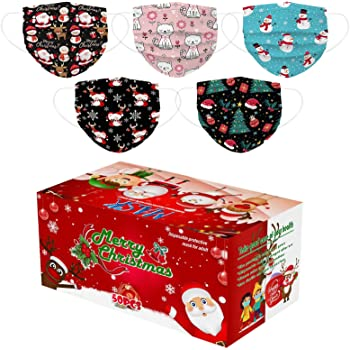 50 Pcs Christmas Disposable_Face_Mäsks in a Box for Adult,Multiple Pattern Combinations 3-ply Face Protection Pads for Party,High Filtration and Ventilation (B)