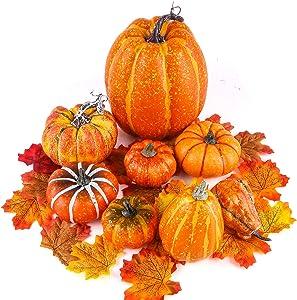 BigOtters Fake Pumpkins, 8PCS Decorative Pumpkins Artificial Pumpkins with 30PCS Lifelike Maple Leaves for Halloween Fall Garland Thanksgiving Table Decorations
