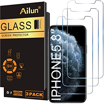 Ailun for Apple iPhone XS/iPhone X/iPhone 11 Pro Screen Protector,3 Pack,5.8 Inch Display,Tempered Glass 2.5D Edge Work Most Case [NOT for iPhone 11,6.1 inch]