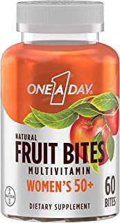 One A Day Women's 50+ Natural Fruit Bites Multivitamin with Immune Health Support*, 60 Count (1 month supply), Gluten Free...