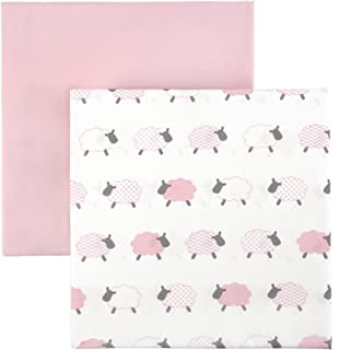 "Tadpoles BFS2MF201 52"" x 28"" x 8"" 2-Piece ""Lamb"" Patterned Microfiber Fitted Crib Sheets in Pink"