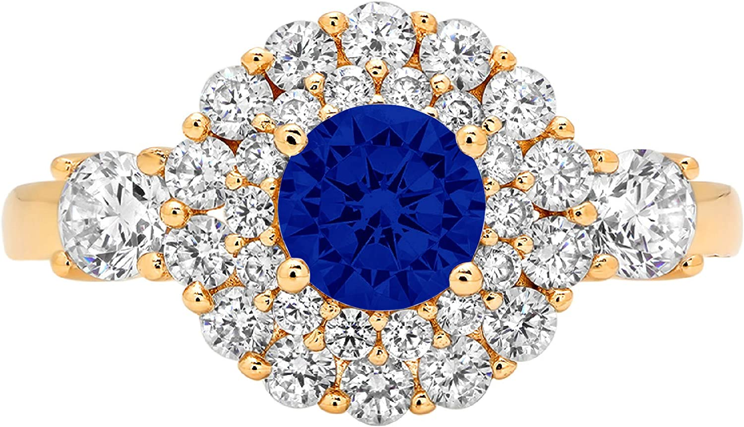 1.06ct Round Cut Double Halo Solitaire Flawless Ideal Genuine Cubic Zirconia Blue Sapphire Engagement Promise Statement Anniversary Bridal Wedding with accent Designer Ring Solid 14k Yellow Gold