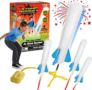 Stomp Rocket Jr. Glow Rocket, 4 Rockets and Toy Rocket Launcher - Outdoor Rocket Toy Gift for Boys and Girls Ages 3 Years ...