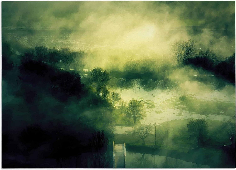 KESS InHouse 888 Design Dark Mystical Landscape Green Black Dog Place Mat, 24  x 15