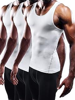 Men's 3 Pack Athletic Compression Under Base Layer Sport Tank Top
