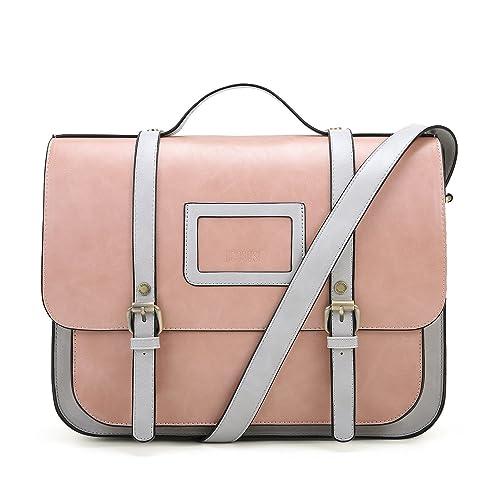 39323fdd2 ECOSUSI Women Briefcase Vintage Crossbody Messenger Bag PU Leather Satchel  Purse, Pink