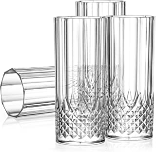 Laura Stein 4 Pack Crystal Style Glasses Highball Glasses Clear