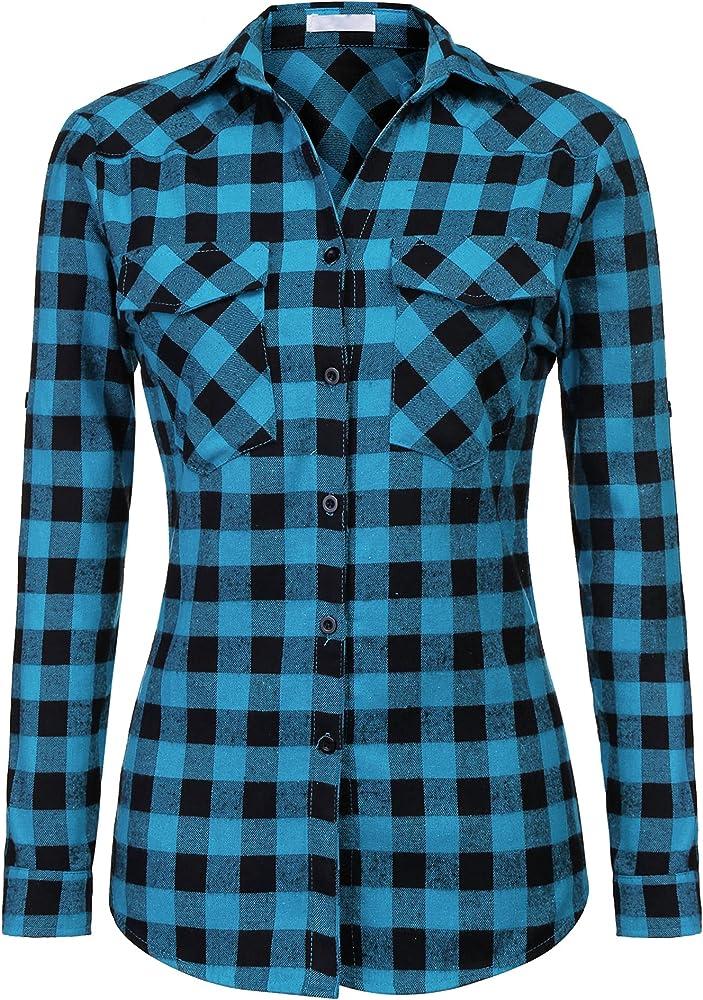 Unibelle camicia a quadri a maniche lunghe per donna 80% cotone e 20% poliestere blu