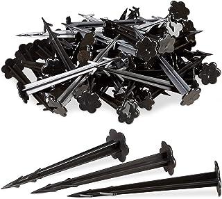 Relaxdays haringen kunststof 11 cm, set van 100 grondankers, tuinvliesbevestiging, elk 11,5 cm lang, zwart