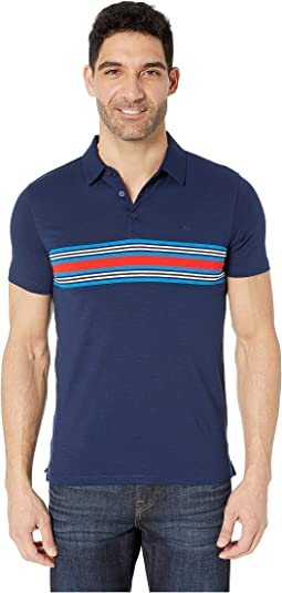 Three-Button Chest Stripe Polo