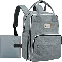 Diaper Bag Backpack, SANHEI Multifunction Travel Waterproof Large Capacity Maternity Nappy Baby Diapers Changing Bags, Gray