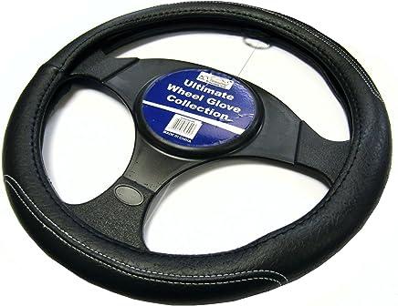 XtremeAuto®- Funda para volante, hecha de cuero, color negro con costuras en