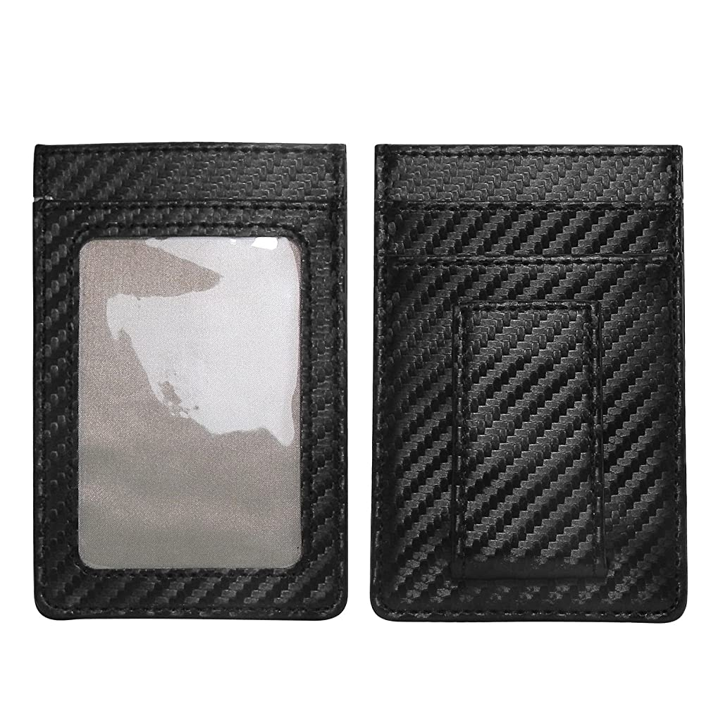 Black Carbon Fiber Stitched Edge Luxury Cards Holder Wallet with Magnet Money Clip and RFID Block