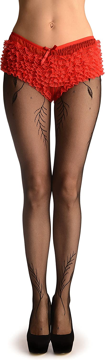 Black Vintage Lace With Leaves & Seam (Petite) - Pantyhose (Tights)