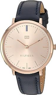 """Tommy Hilfiger""""Deporte sofisticado oro y reloj automático de piel de cuarzo de las mujeres, color: azul (Modelo: 1781693)"""