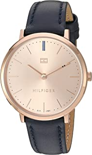 Tommy Hilfiger Women's Sophisticated Sport Stainless Steel Quartz Watch with Leather Calfskin Strap, Blue, 15 (Model: 1781693)