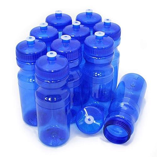 100 Bulk Pack 24 Ounce Blue Water Bottles USA Made