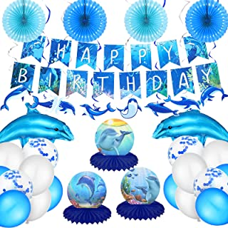 24 Pieces Dolphin Birthday Party Decorations Ocean Party Decorations Include Dolphin Birthday Banner Honeycomb Table Cente...