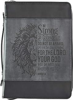 Be Strong Lion ツートンブラック聖書カバー ヨシュア記1:9 Lサイズ