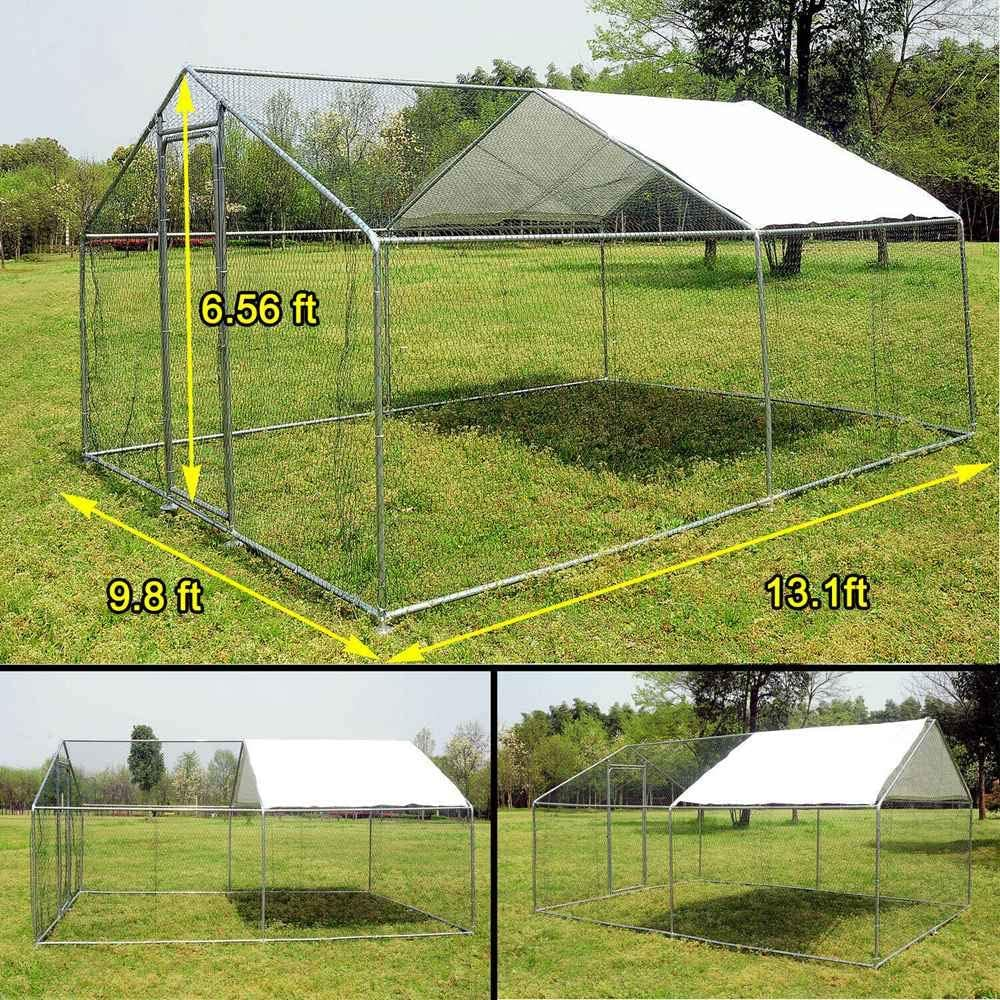 Large Chicken Coop Walk-in Metal Poultry Cage House Rabbits Habitat Cage Spire Shaped Coop with Waterproof and Anti-Ultraviolet Cover for Outdoor Backyard Farm Use 9.8 L x 26.2 W x 6.56 H
