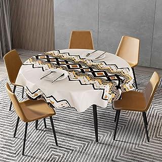 Asvert Nappe Imperméable de Table PVC Ronde Nappe Ronde Toile Cirée 140cm Ecologique Nappe de Table Anti-Taches Lavable En...