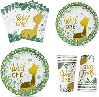 Wild One Birthday Decorations-100 PCS Wild One Party Supplies Include Safari Plates, Napkins,12 oz Cups, Safari Birthday D...