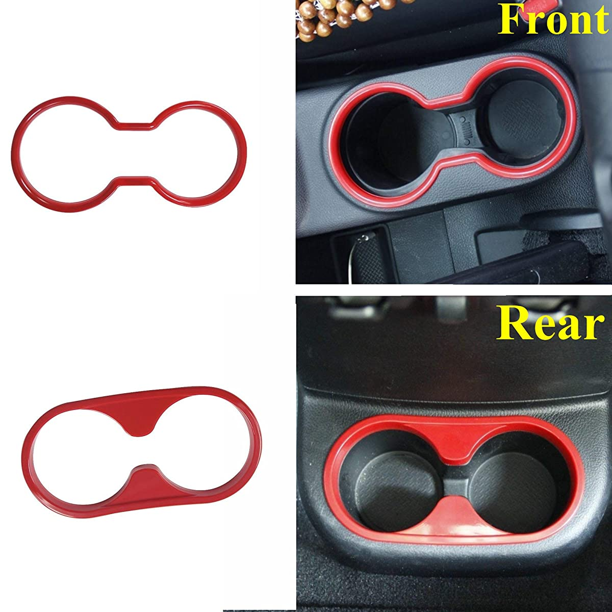 AVOMAR 2pcs/set ABS Interior Front & Rear Water Cup Holder Trim cover for Jeep Wrangler 2011-2017 (Red)